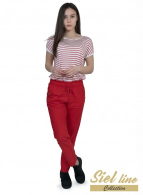 Дамски спортен ленен панталон в червено