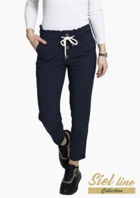 Дамски ленен панталон в тъмно синьо