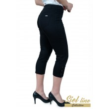 Еластичен дамски панталон 7/8 в черно