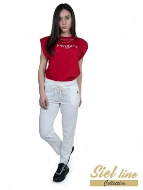 Дамски ленен панталон в бял цвят