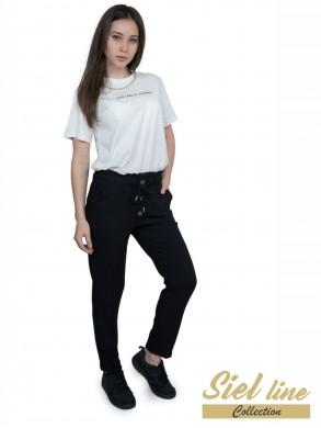 Дамски ленен панталон в черно