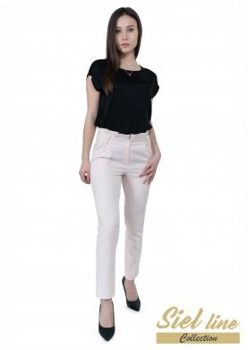 Дамски панталон с къдра на талията в кремав цвят