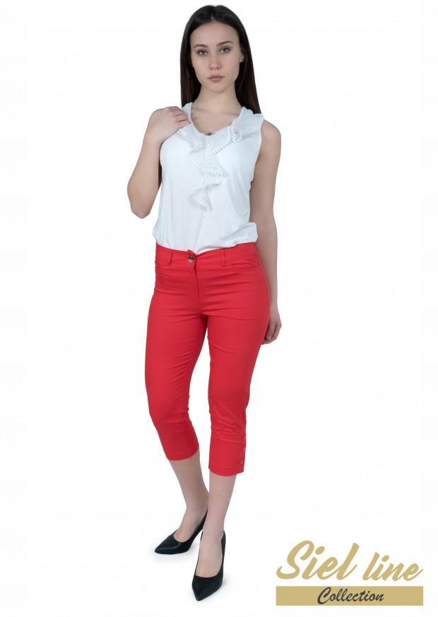Еластичен дамски панталон 7/8 в цвят корал