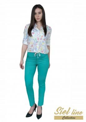 Дамски еластичен панталон в цвят мента