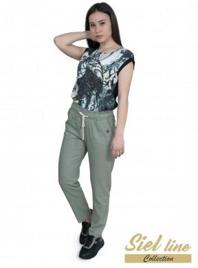 Дамски спортен ленен панталон в цвят грахово зелено