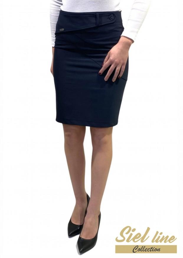 Вталена дамска полa в Тъмно син цвят