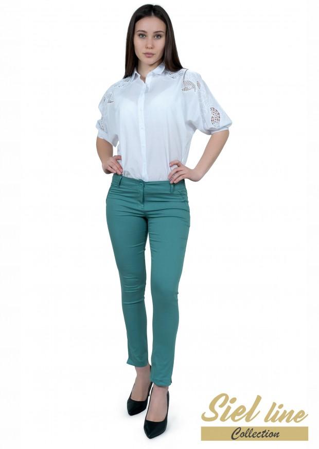 Дамски панталон в цвят грахово зелено