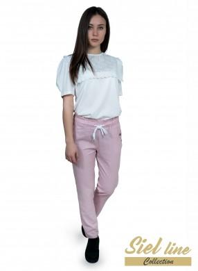 Дамски ленен панталон в розово